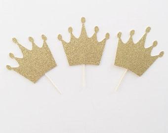 Princess Party- Princess Birthday- Princess Crown- Crown Cupcake Toppers- Castle Topper- Princess Topper- Princess Party Decor- Birthday
