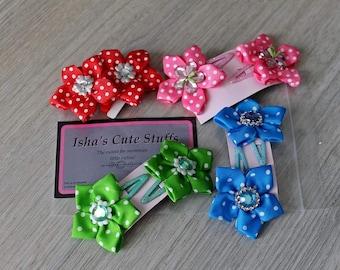 Kleine Bloem Haarspeldjes, Klikklak met Bloem, Polka Dots Hairclip, Haarspelden, Klikklak, Flower Hair clips , girls hair clip