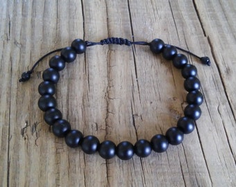 Shungite stone bead bracelet – natural matte black shungite crystals bracelet for mens – healing energy mala meditation friendship bracelet