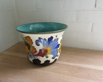 Rare Vintage 'LOGARI' Art Deco Royal Gouda Hand-Painted Ceramic Planter Made In Holland in the 1950s