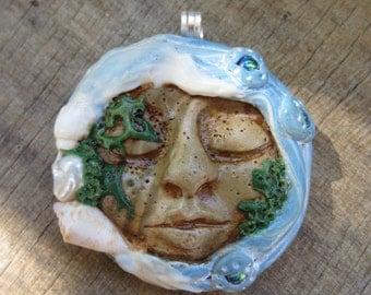 Ocean Goddess Pendant, Sea Goddess Pendant, Beach Pendant, Face Pendant, Polymer Clay Necklace