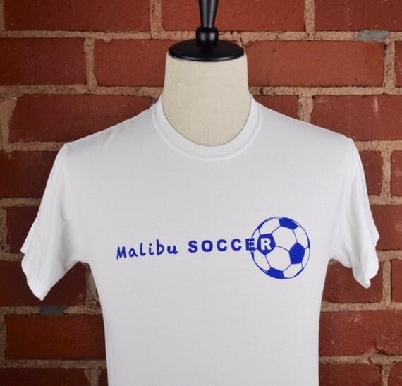 Malibu Soccer White T Shirt Tee Sz Small