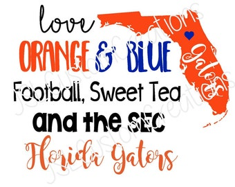 Florida Football SVG, Orange & Blue, Southern State, SEC, Florida Gators, PNG, eps, dxf Files, For Silhouette, Cricut, Vector