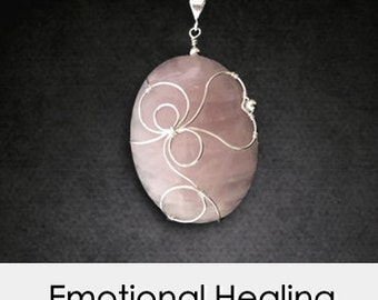 Heart Healing Crystal Necklace: Large Rose Quartz with Big Heart