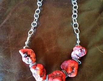 Red Magnesite Chunky Gemstone Necklace