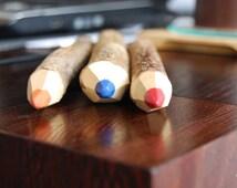 5 Wooden pencil, coloured pencil, Wooden crayons, kids, children, kids party favour, sticks natural handmade,interesting gift, present