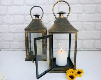 Set of 2 Rustic Lantern Wedding Lanterns  Rustic Wedding Centerpiece Home Decor Candle Holder