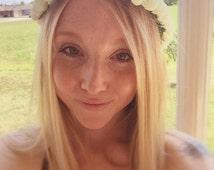 SALE Flower crown adult,flower jewelry,white roses,halo,festival,flower headpiece,boho flower crown,bride flower crown,wedding flower crown,