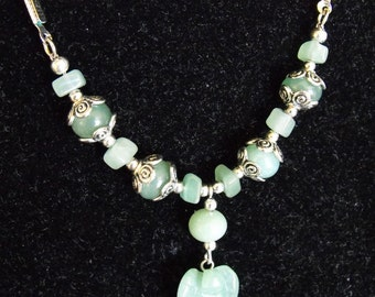 Carved Aventurine Angel Pendant Beaded Cord Necklace