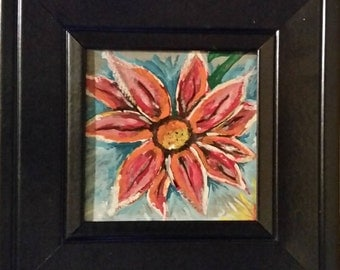 Floral Abstract Acrylic Painting on Small Canvas in Black Frame