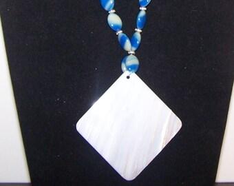 Diamond Shaped Mother of Pearl Pendant Set