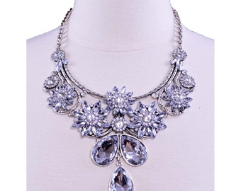 Silver Fashion Rhinestone Jewelry Statement Necklace for Women