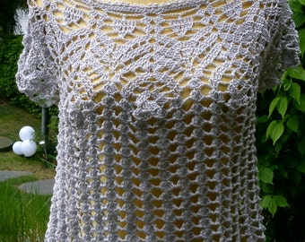 Crochet top, bright grey, size 36-38 (S-m)