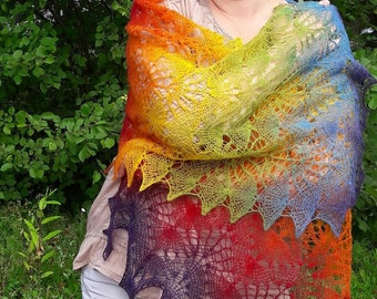 Lace Knitting shawl, stole, Rainbow