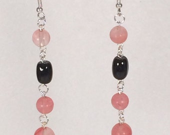 Pink and Black Dangle Earrings