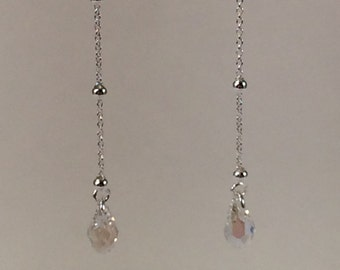 Sterling Silver Ear Threads with Swarovski Briolettes in Moonlight