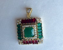 Ottoman pendant, Turkish jewelry, Ruby pendant, Emerald pendant, fashion jewelry, gift for her, gift for women