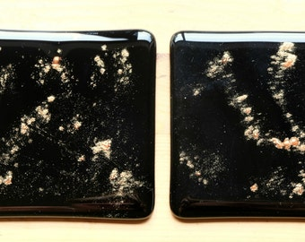 Pair of fused glass cosmic coasters