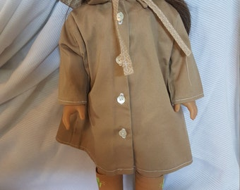 """Khaki Trench Coat and matching Hat for 18"""" Doll   FREE SHIP"""