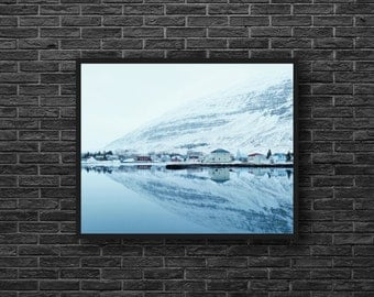 Winter Mountains - Water Reflection - Mountain Photography - Mountain Landscape - Houses Photo - Mountain Wall Art - Winter Wall Decor