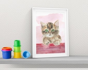 Nursery Wall Print. Kids Art Nursery.Kitten Digital Print. Children Art. Baby Nursery Art. Kids Room Decor Watercolor.