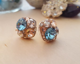 Peach Color Swarovski Crystal Square Stud Earrings With A Sky Blue Crystal