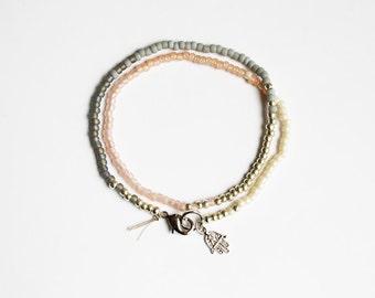 Boho Beaded Wrap Bracelet - Hamsa Hand