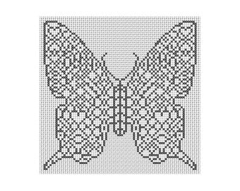 Colour-In Butterfly Cross Stitch Chart - Colouring - Insects - Wildlife - Colourful  - Suit Beginners or Experts