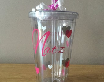 Personalised Name, Hearts and Slogan Tumbler Great for a Gift! /Birthday/Wedding/Anniversary/Thank you