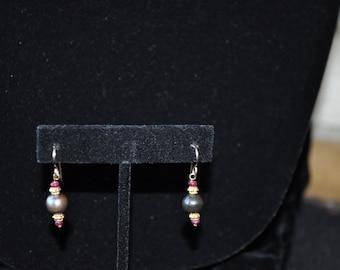 Ruby anf Peacock Fresh Water Pearl Earrings