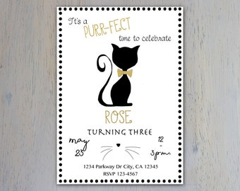Kitty Cat Invitation, Cat Invitation, Purrfect, Black and White, Polka Dots, Gold, Birthday Invitation, Simple, Modern, Party