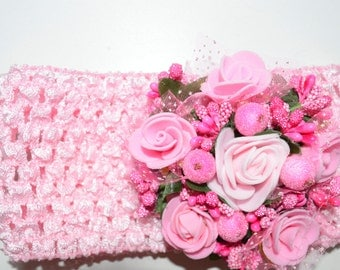 Pink  Headband Pink Roses Headband  Valentines Day Headband Toddler Child Teenager Adult Headband Flower headband Pink flower headband