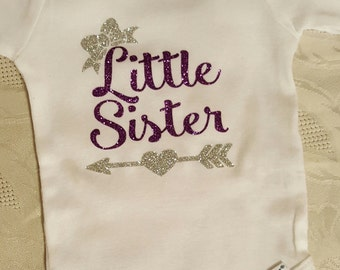 Little Sister Onesie with name on the bottom
