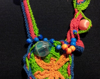 Crochet boho necklace, free-form, with colorful beads. 100% cotton