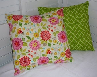 Pillow Cover, Throw Pillow Cover, Decorative Pillow Cover, Cotton Print Fabric, Red Pink Green Mustard Yellow