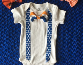 Gameday  snap on bow tie onesie - Florida Gators