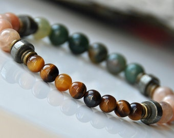 Men Tiger's Eye Gemstone Bracelet, Energy Healing Bracelet, Sun Stone, Yoga Bracelet, Reiki Bracelet, Bohemian Mens Bracelet, Japa Mala,