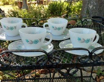 Fire King Bonnie Blue Floral Cups and Saucers