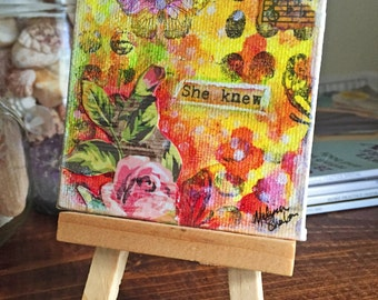 She Knew- Original Mixed Media Collage Painting