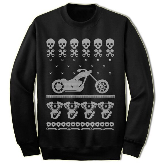 Biker Motorcycle Christmas Sweater. Ugly Christmas Sweaters