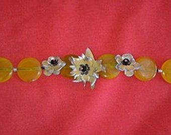 Handmade Leather and Agate Bracelet, Yellow