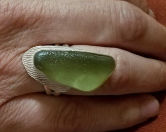 Light olive surf tumbled sea glass sterling ring