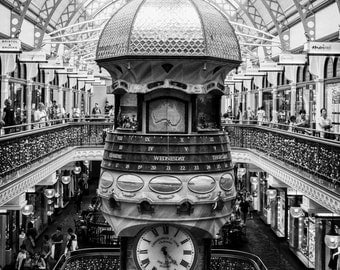 The Great Clock in the QVB - original photograph, digital download, black and white photo