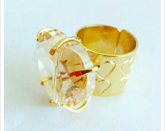 24k Gold Plated adjustable ring crystal heart