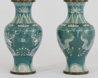 Beautiful Pair of Chinese Cloisonne Enameled Vases with Dragons Pursuing Flaming Pearls of Wisdom in Teal Blue, Light Blue, Mint Green