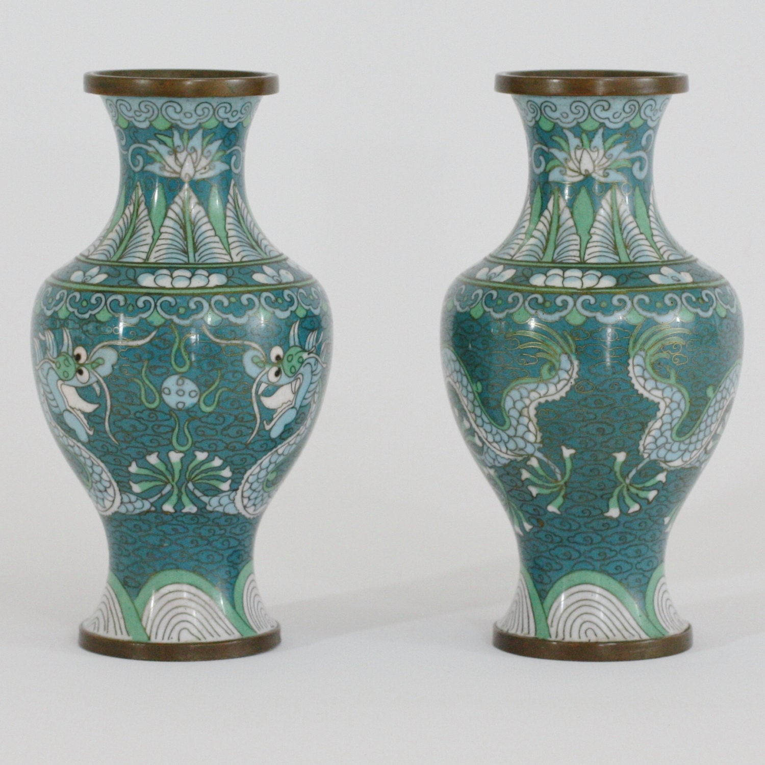 Reserved for cathy metry boyle beautiful pair of chinese reserved for cathy metry boyle beautiful pair of chinese cloisonne enameled vases with dragons pursuing flaming pearls of wisdom in teal b reviewsmspy