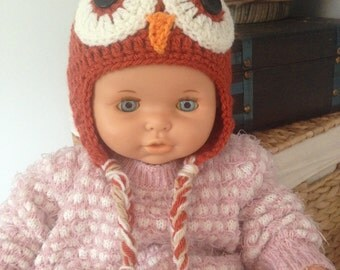 Crochet Baby Owl Earflap Hat - Size 6-12 Months - Orange