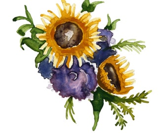 Colorful Sunflower Bouquet, Photographic Print of Original Watercolor