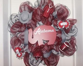 Deco mesh alabama wreath, alabama wreath, bama wreath, elephant wreath, crimson tide wreath.