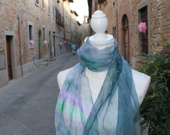 Hand painted Silk scarf, Chiffon Silk Scarf, Blue Silk Scarf, Made in Italy, Scarves for women, Silk fabric,180x45cm